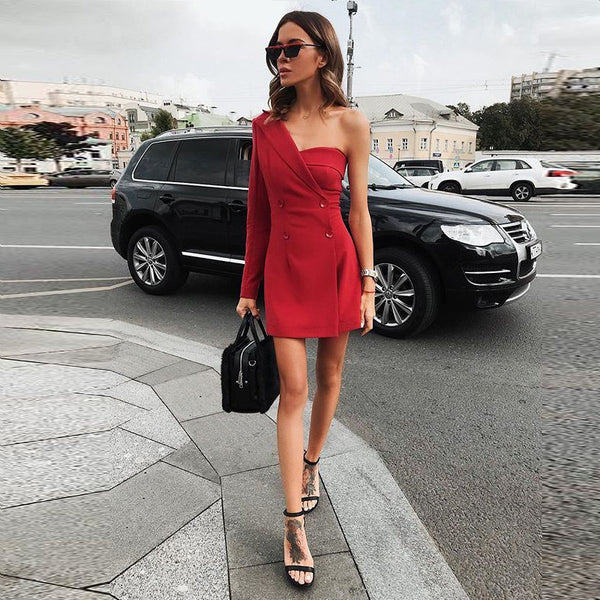 One Shoulder Solid Color Office Lady Coat Mini Dress