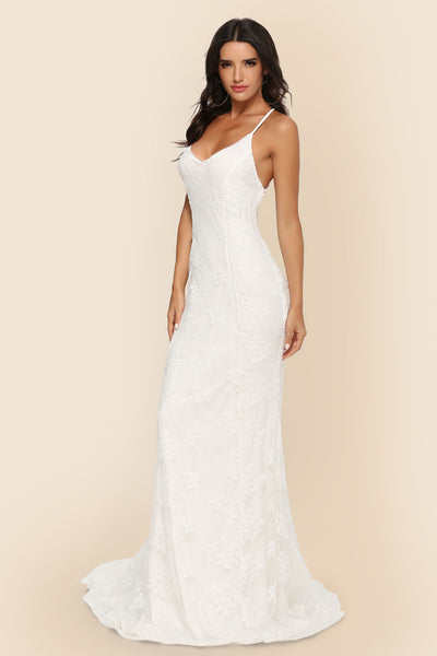 Sexy Sling V-neck Big Tail Party Wedding Dress