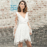 Flare Sleeve Embroidery Deep V Neck Mesh Mini Party Wedding Dresses