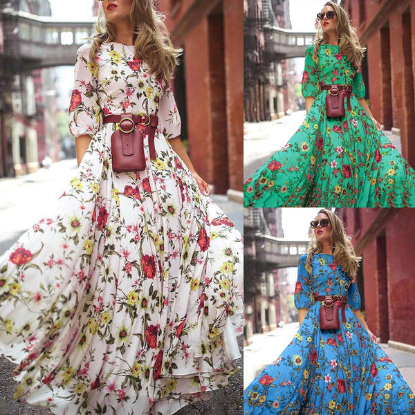 Half Sleeve Large Swing Floral Print Holiday Long Dress