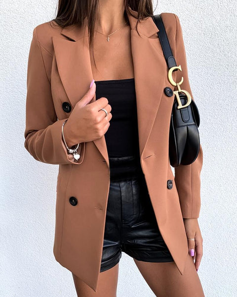 Women Slim Fit Double-Breasted Coats