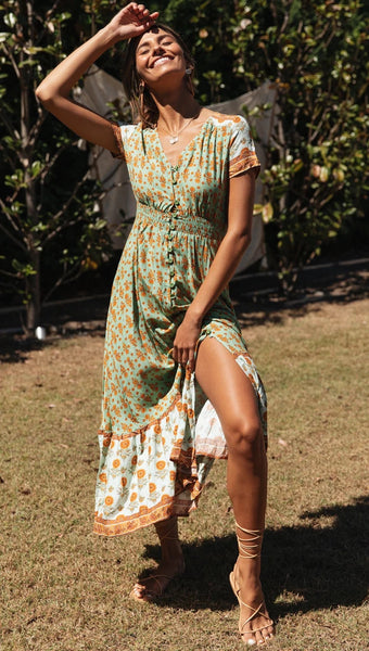 Vintage V-neck Printed Holidy Maxi Dress
