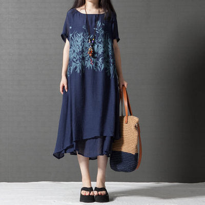 Women Summer Long Cotton Linen Print Plus Size Maxi Dress
