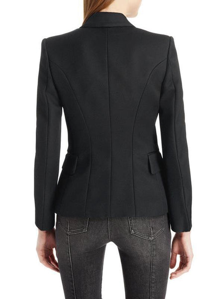 Women stylish turn down neck long sleeve blazer