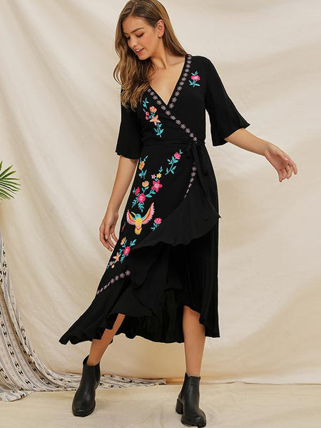 Embroidery Irregular V-Neck Patchwork Skater Dress