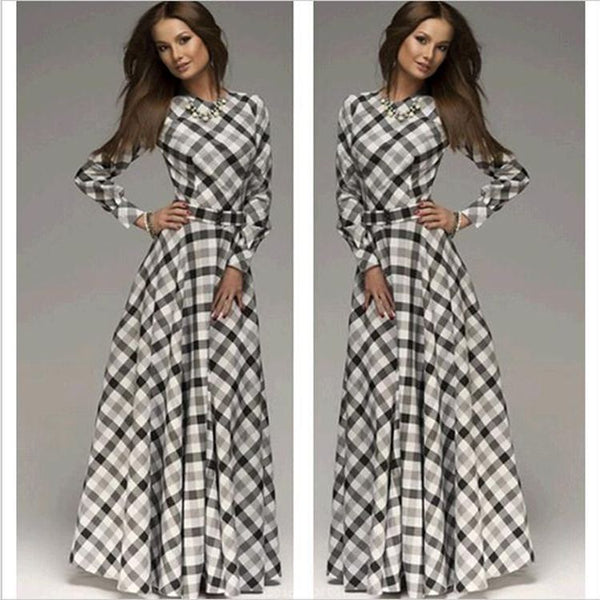 Women Popular Plaid Long Sleeve Maxi Dress
