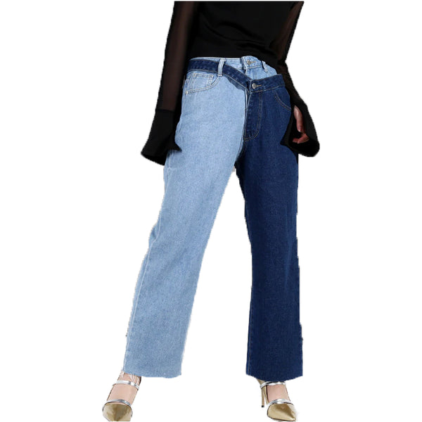 Summer High Waist Blue Hit Color Two Piece Stitch Women Jeans