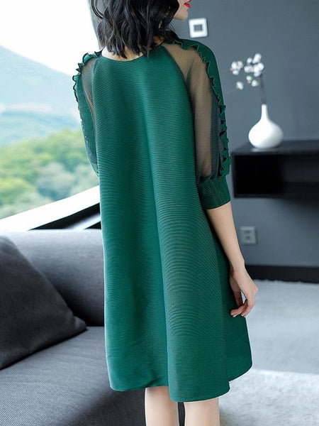 Woman Solid Color Mesh O-Neck Half Sleeves Midi A-Line Dresses