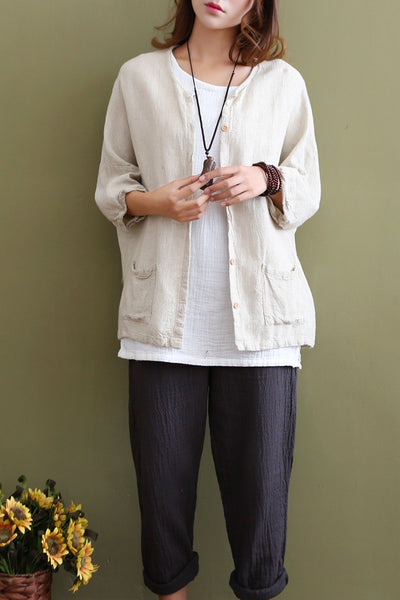 Women Long Sleeve Solid Color Cotton Linen Casual Blouses