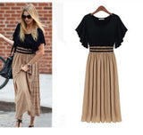 Women Summer Short Sleeve Vintage Slim Waist One-piece Maxi Dress