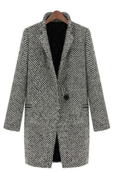 Women Casual Long Sleeve Houndstooth Button Coat