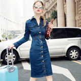 Vintage lapel single-breasted long slim long-sleeved denim dress