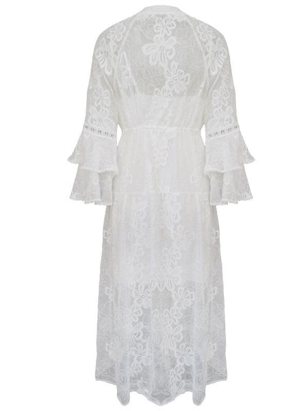 Women Lace Embroidered Stitching Fringed V-neck Maxi Dress