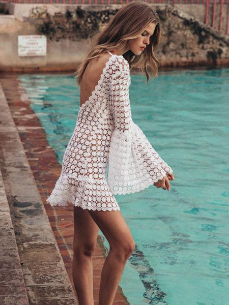 Lace Hollow Flared Sleeve Backless Mini Dress