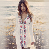 Sexy Women Long Sleeve V Neck Floral Party Mini Dress (White One size)