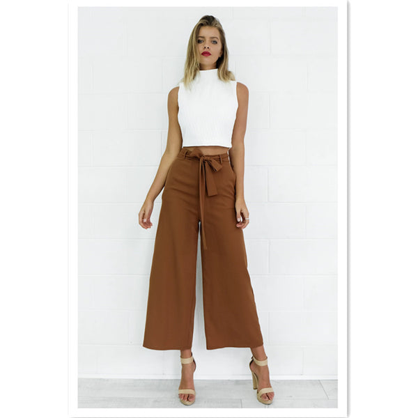 Loose mid-rise half-length sexy cropped trousers