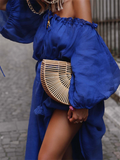 Women Fashion High-Waist Solid Off-Shoulder Maxi Dresses