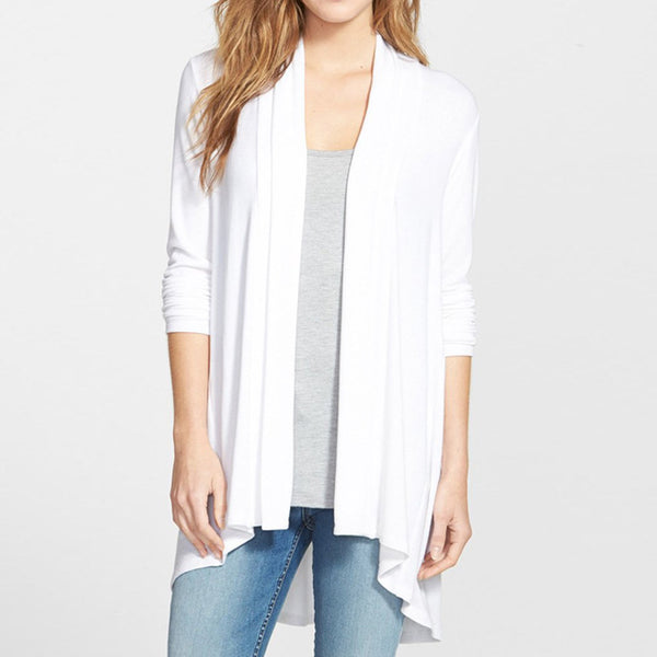 New solid color short short long slim long sleeve wild cardigan