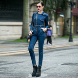 Lapel zip long-sleeved high-rise jumpsuit jeans
