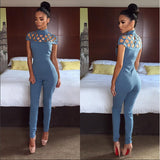 Women Fashion Short Sleeves Sexy Jumpsuits
