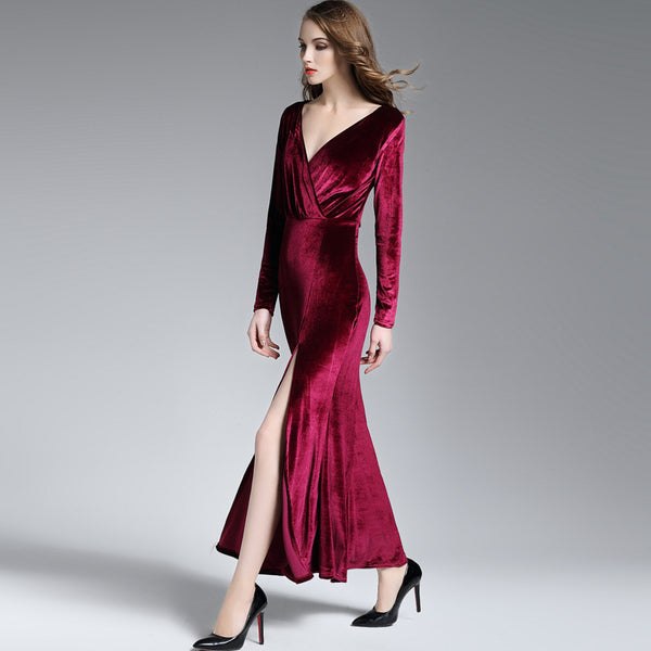 Gold velvet split deep V-neck long-sleeved Maxi dress