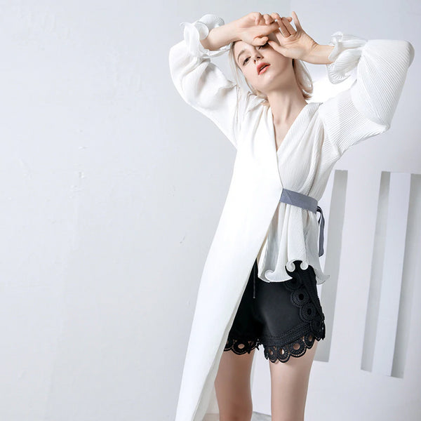 Summer Long Flare Sleeve Pleated Waist Bandage Irregular Stitch Shirt Blouse