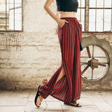 Women Summer Vintage Print Wide-Leg Pants
