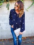 Women New Ploka Dot Long Sleeve Casual Blouse