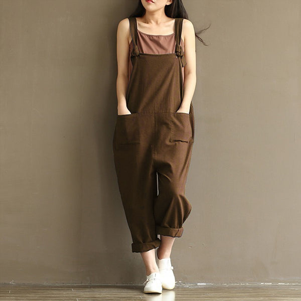 Women's loose casual strap jumpsuit