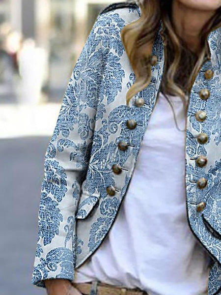 Women fashion printed long sleeve button blazer coats