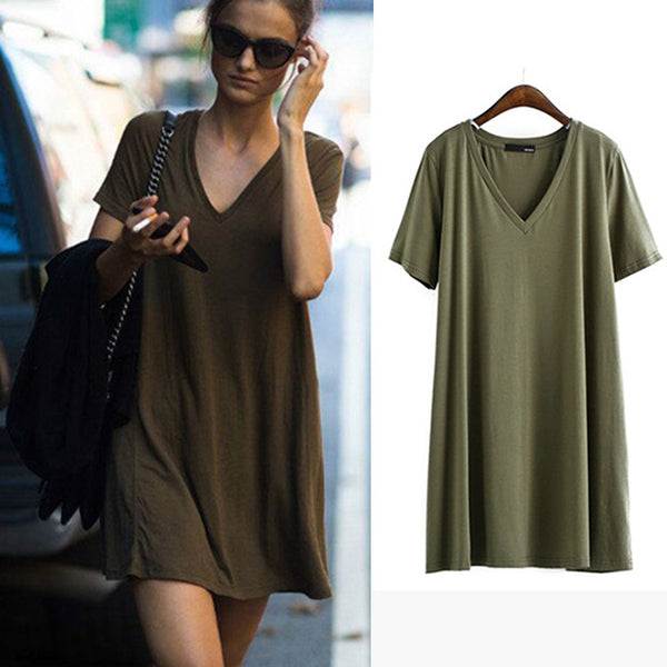 Solid Short Sleeve V-neck Loose Long T-shirts