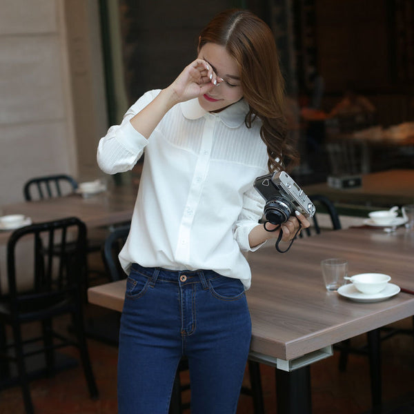 Women Loose Turn Down Collar Long Sleeve Solid Shirt