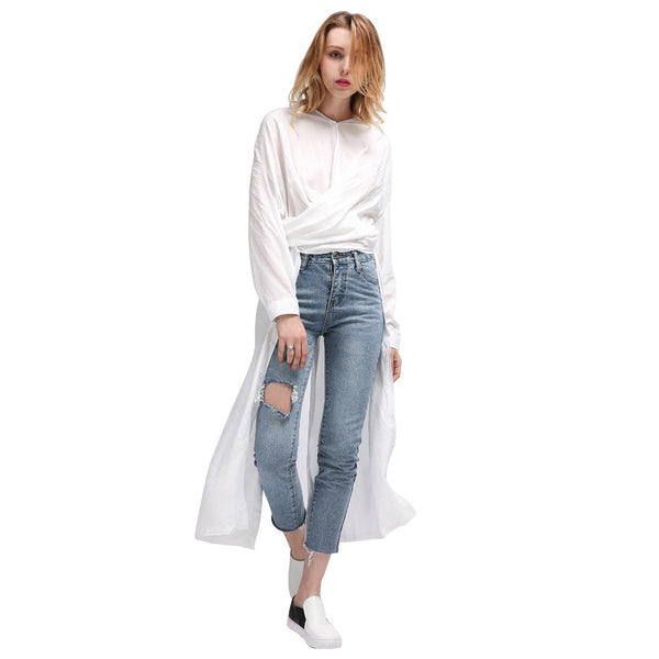 Women Fashion Long Sleeves Solid Color Shirts