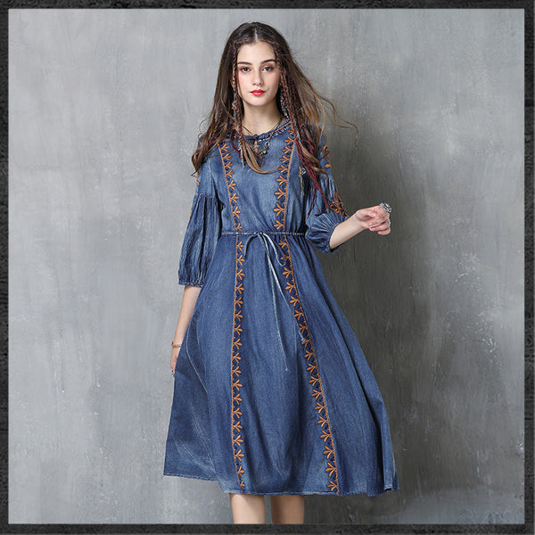 Large size embroidery denim skirt National style drawstring JEAN DRESSES