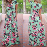 Women Long Maxi Dress Summer Floral Print Boho Beach Dress Short Sleeve Evening Party Dress