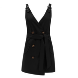 Women vintage belt Elegant bodycon club Mini Dress