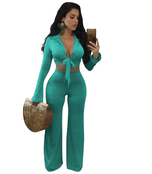 Women Solid Two Piece Set Jumpsuits