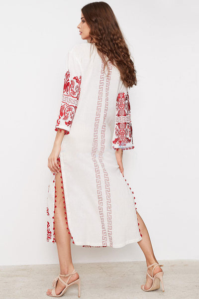 Women Embroidery Split Chic Bohemia Dresses