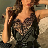 Women Satin Lace Splice Camis Top Blouse
