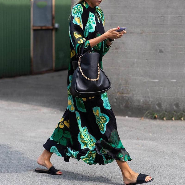 Summer Women Vintage Floral Printed Long Sleeve Maxi Dress