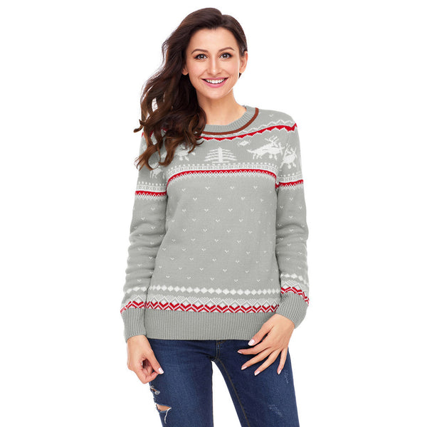 New large size printed round neck long sleeve women's sweater