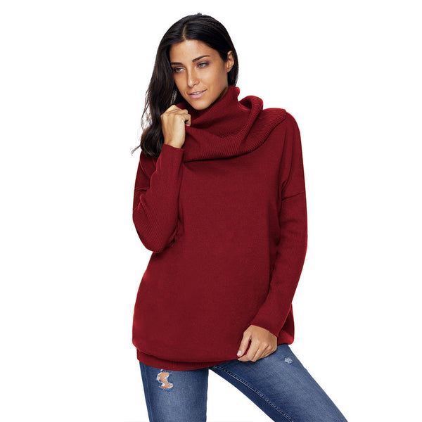 Women High Neck Pullover Long Sleeve Casual Knitted Sweater
