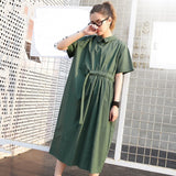 Summer Fashion New Loose One Side Drawstring Waist Short Sleeve Casual Maxi Dress