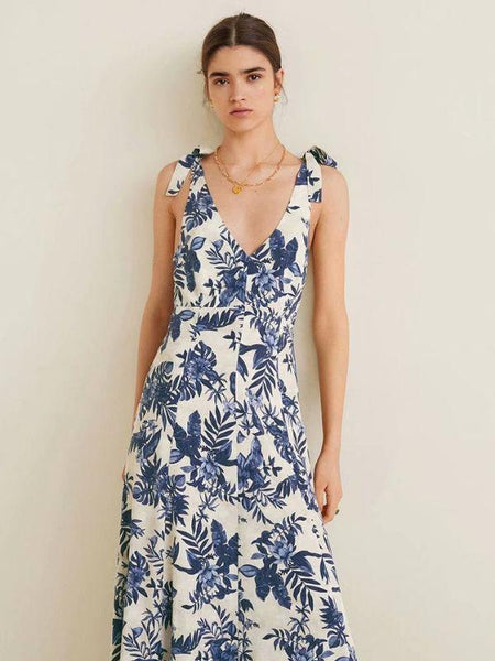 Women Floral Printed V-Collar Sleeveless Backless Holiday Casual Dress