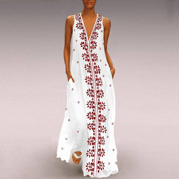 Women Floral Print Vintage Sexy V Neck Sleeveless Maxi Dress
