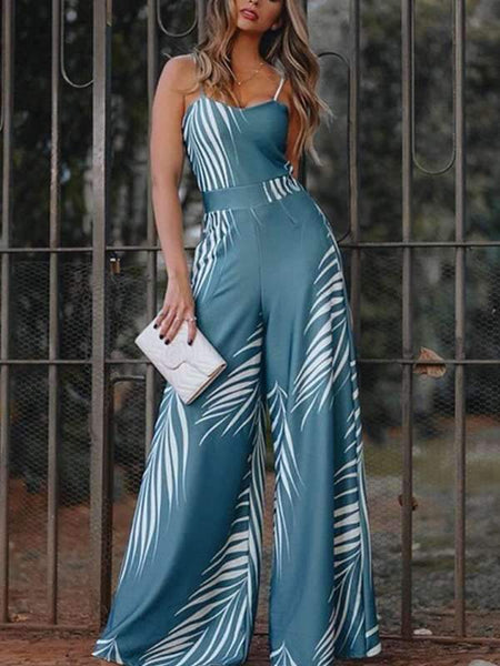 Fashion Printed High Waist Strap Jumpsuits