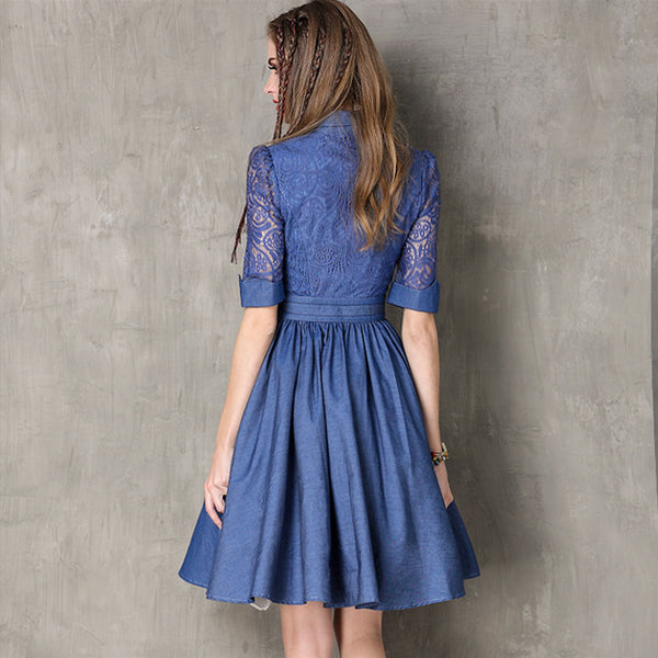New slim denim skirt Vintage openwork lace sleeve dress