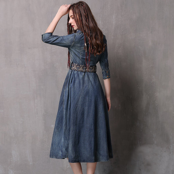 New slim denim dresses with retro embroidered mid-sleeve dresses