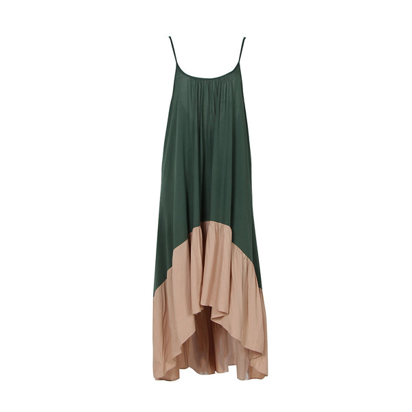 Women Spaghetti Strap Stitching Color Backless Maxi dresses (Green One size )