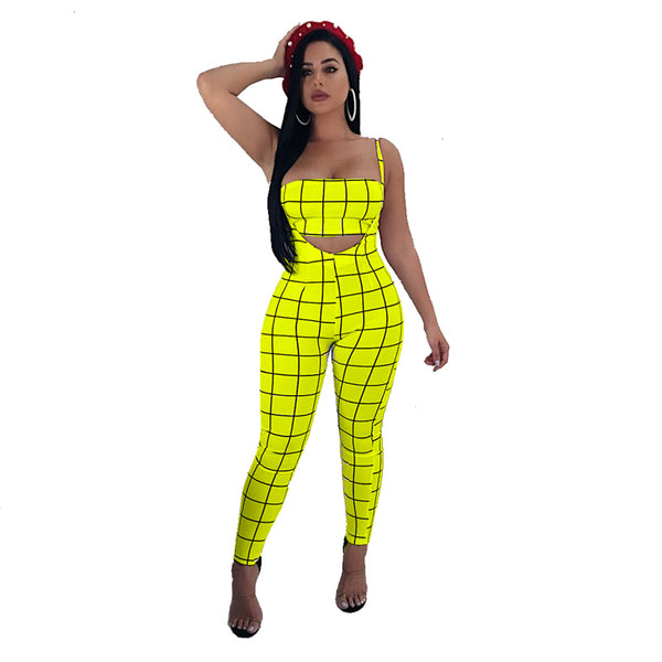 Sexy Plaid Spaghetti Strap Crop Top and Pants Set